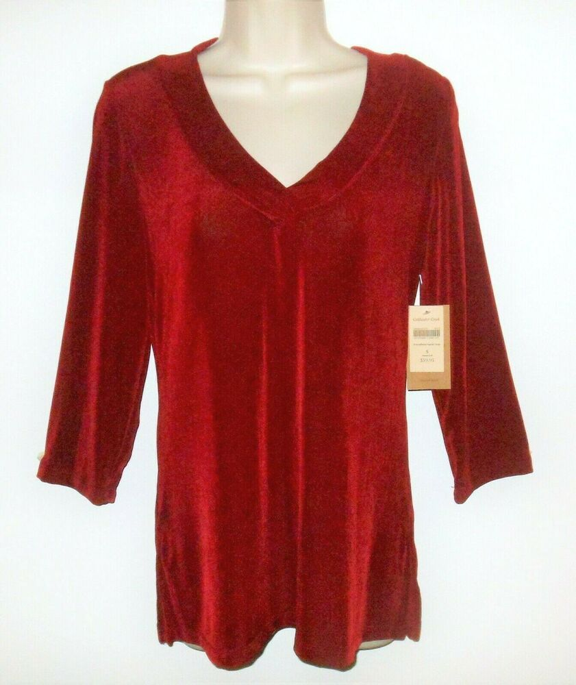 7640f7251a6 Coldwater Creek Travel Knit Top Tunic S 4 6 NEW Red Slinky Stretch USA NWT # ColdwaterCreek #TravelKnit #SlinkyKnit