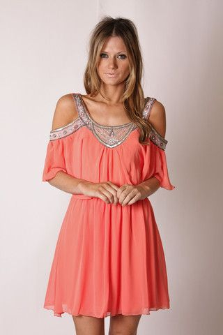Coral Off The Shoulder Dress.