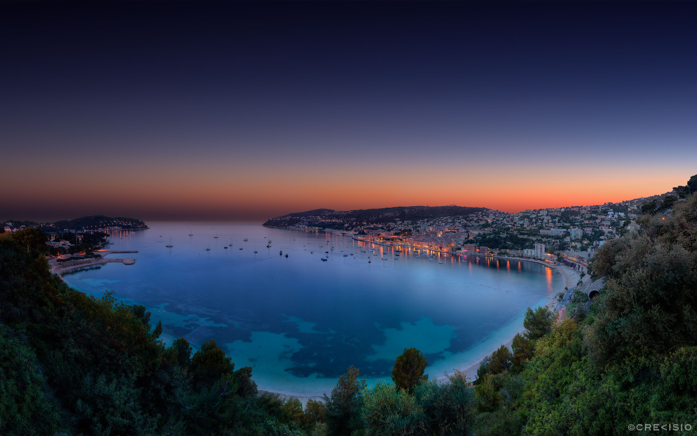 Evening Twilight Sunset Hdr Panorama Over Villefranche Sur