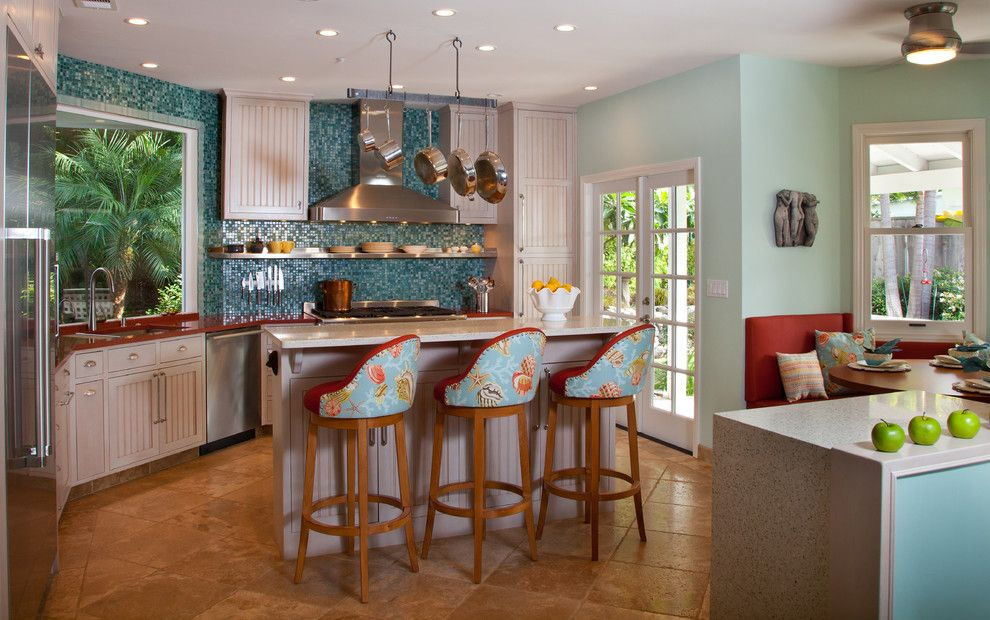 Tropical Kitchen Decorating Ideas With Breakfast Nook Counter Stools French Doors Tropical Kitchen Kitchen Design Tropical Kitchen Design