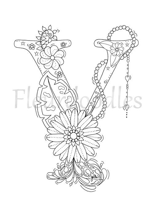 adult coloring page - floral letters, alphabet Y, hand lettering ...