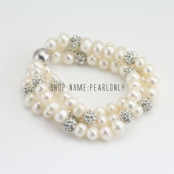 3 Strand Pearl Bracelet Three Line For Mom Multi Bridesmaid Grandma
