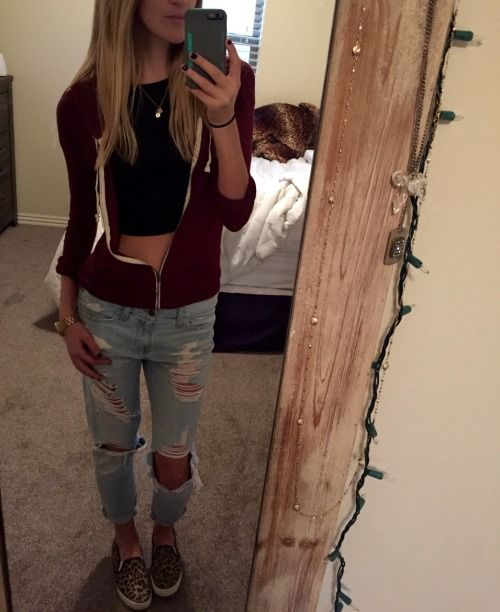 9b78dd70604e Spring outfit - ootd Abercrombie destroyed boyfriend jeans forever 21 black  crop top Abercrombie maroon lightweight zip up hoodie American Eagle  cheetah ...