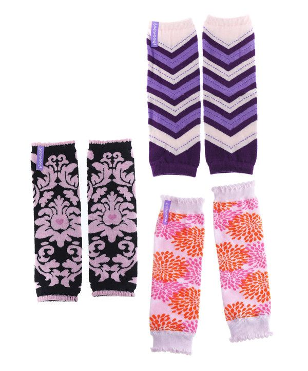 Take a look at this Purple Zigzag & Black Damask Leg Warmers Set on zulily today!