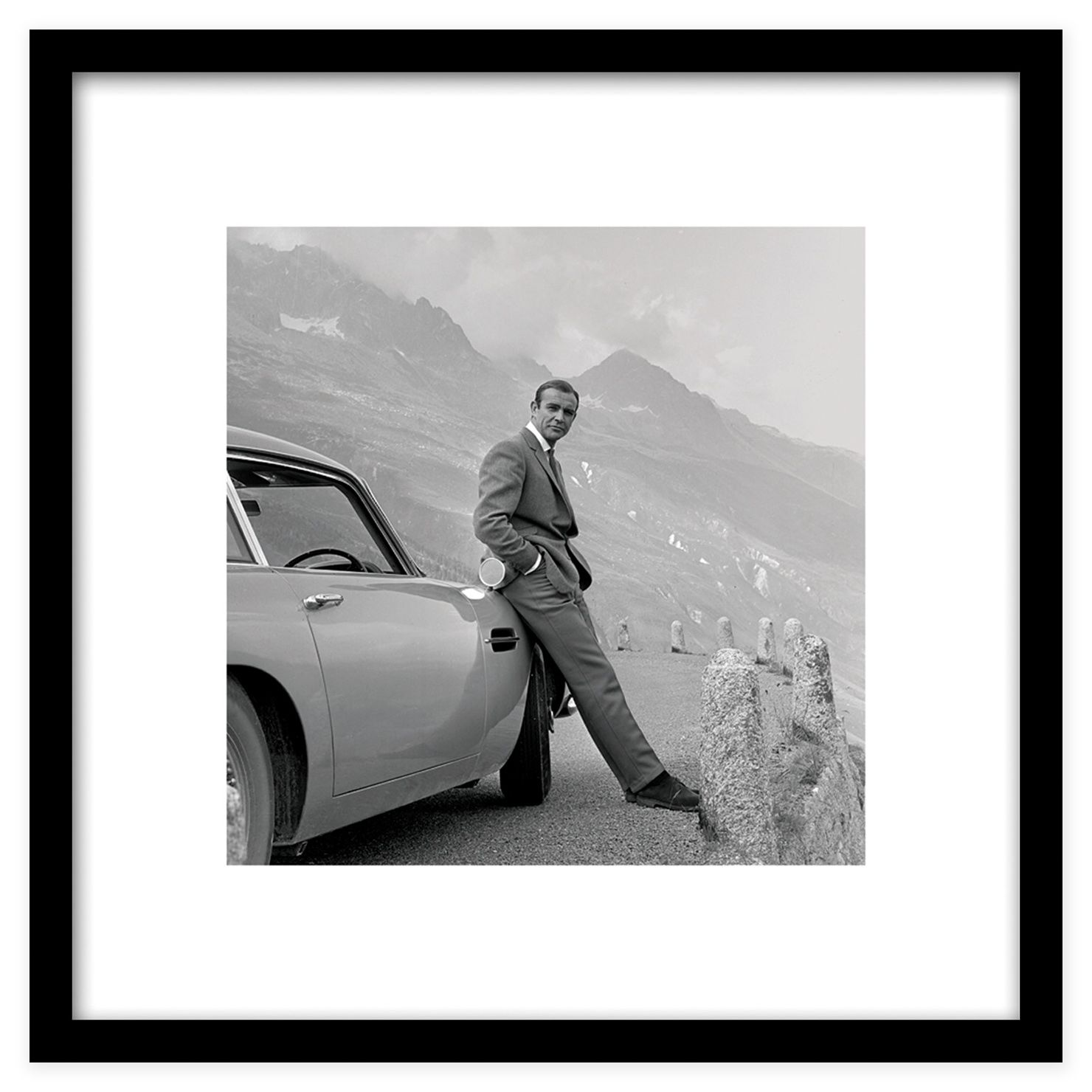 James Bond With Aston Martin Framed Art Print