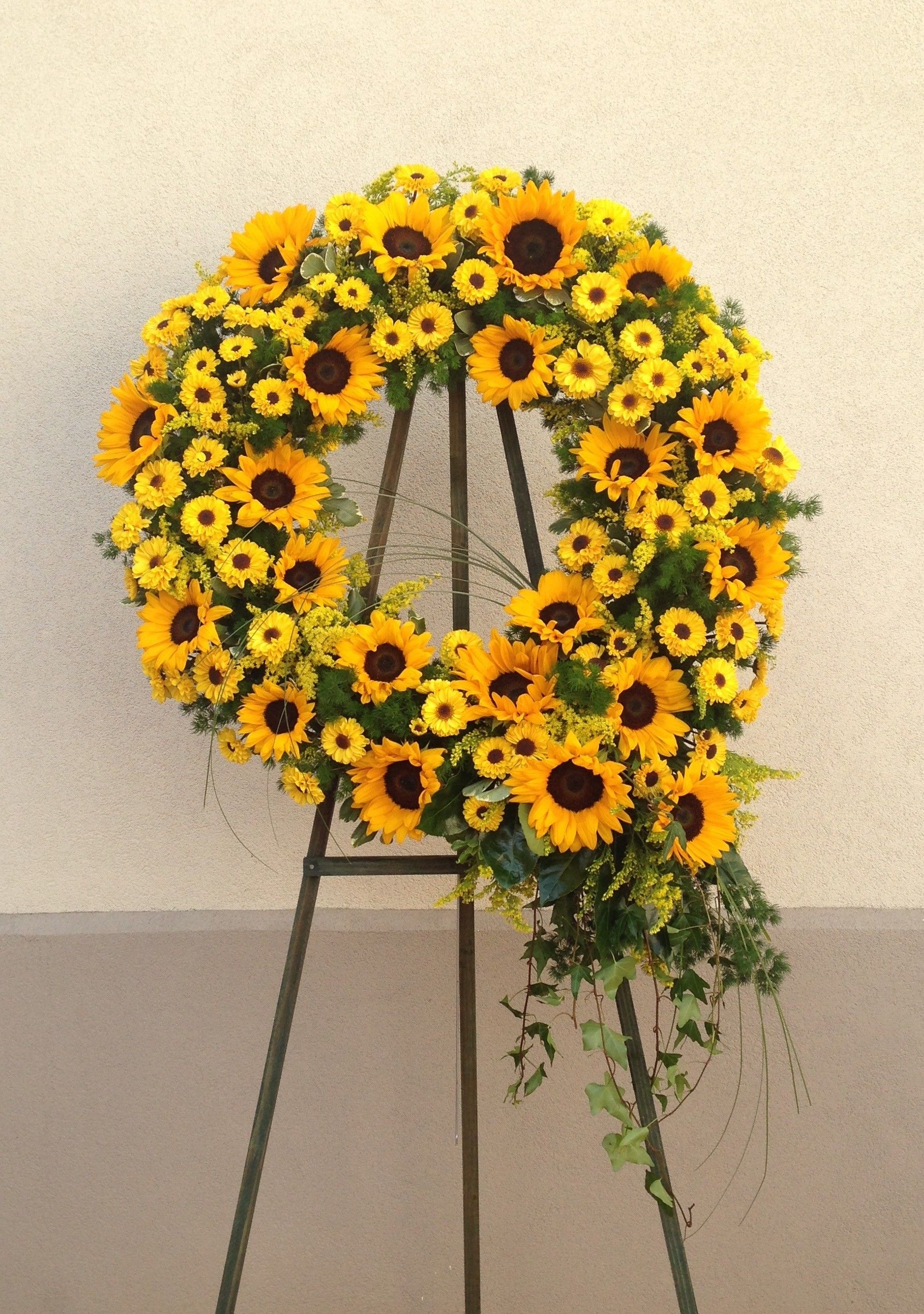 All yellow funeral heart with sunflowers and yellow roses sympathy radiant sun wreath izmirmasajfo