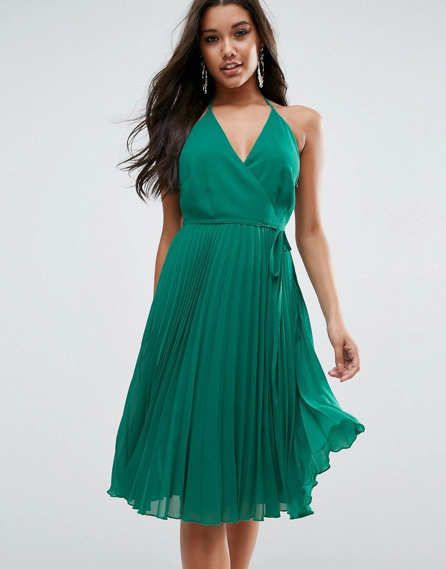 Buy it now. ASOS Cami Pleated Dress - Green. Dress by ASOS ...