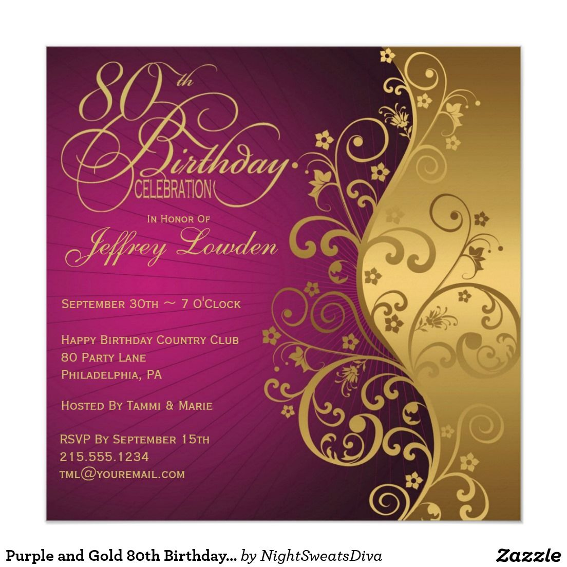 Purple and Gold 80th Birthday Party Invitation … | Pinteres…