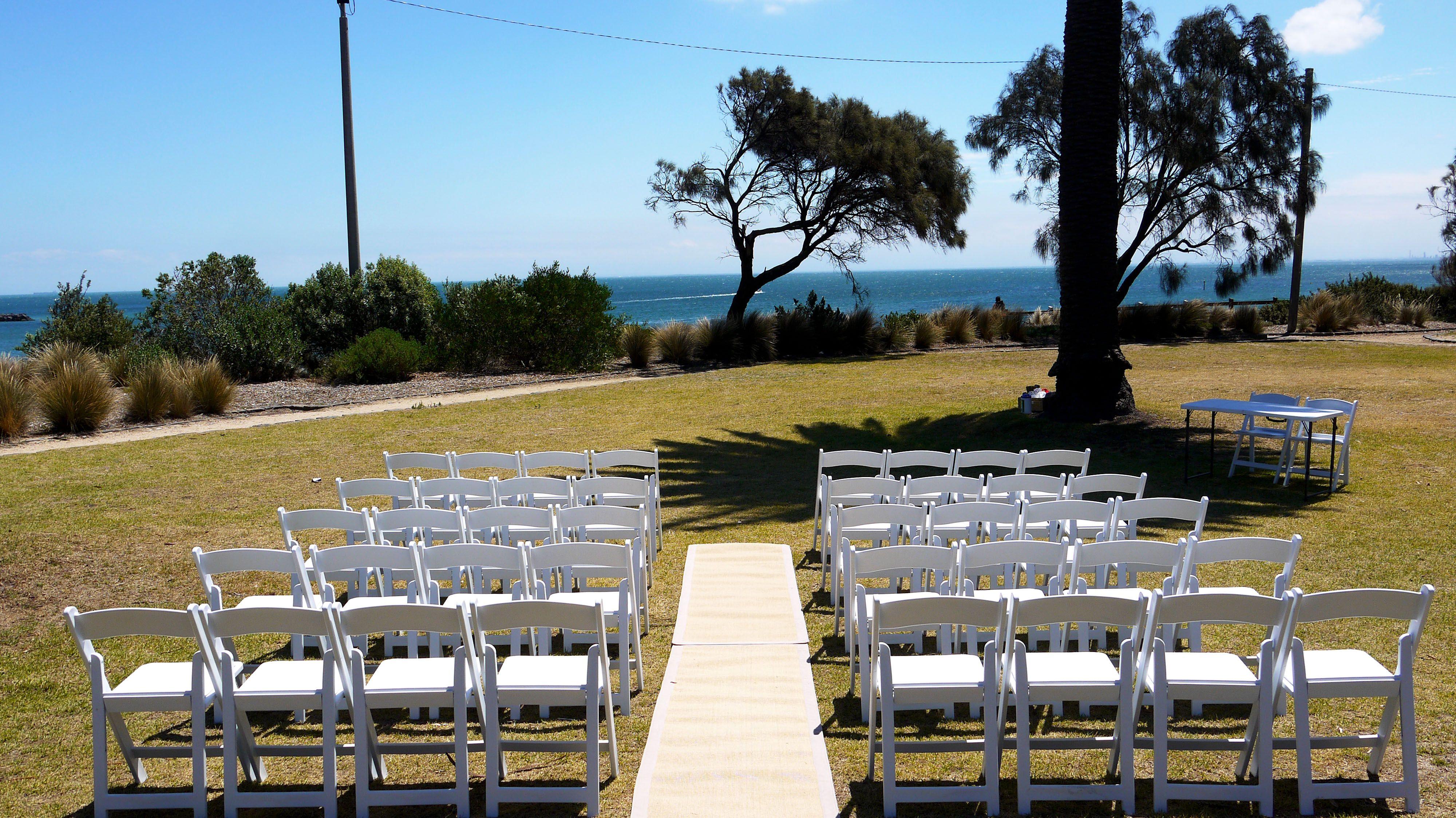 Wedding Chair Cover Hire Brighton Lowes Wicker Chairs B J Ferdinando Gardens Hampton Beach Foreshore
