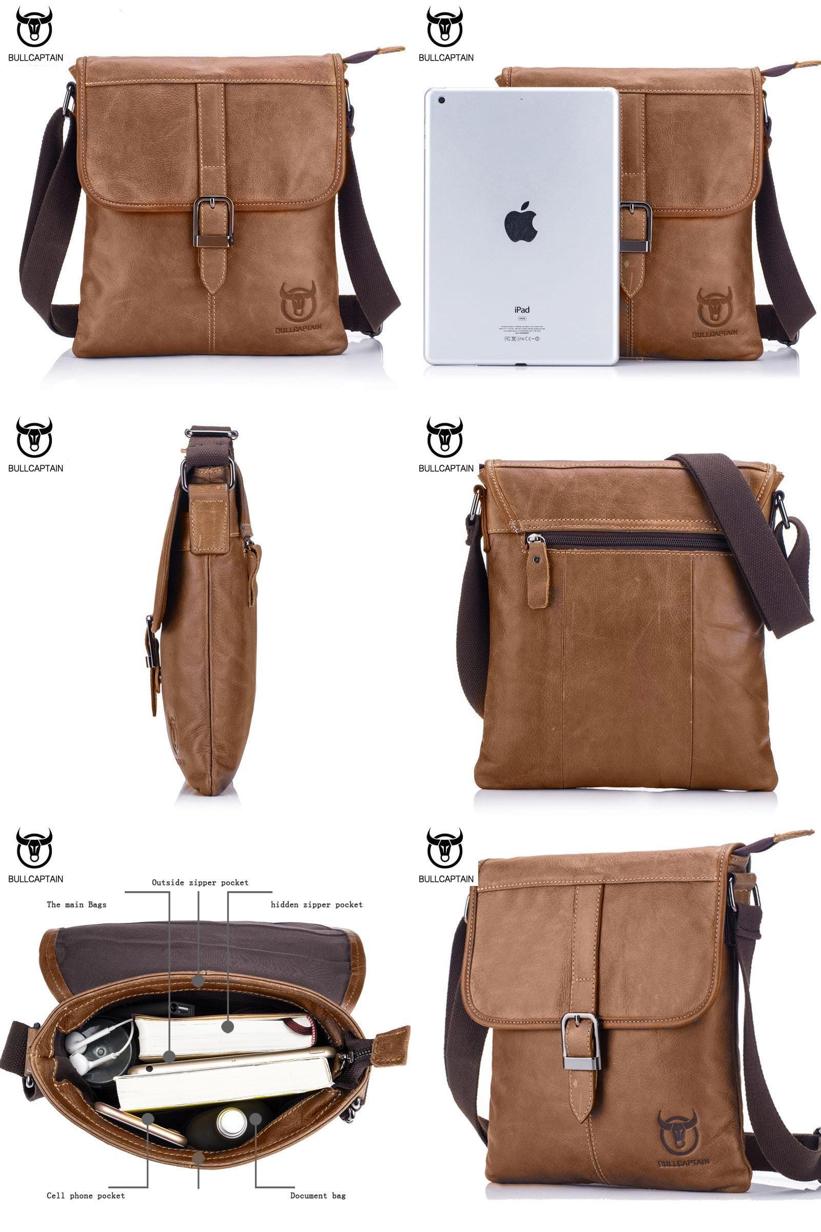 85cb137f7e29  Visit to Buy  BULL CAPTAIN 2017 Vintage Bag Genuine Leather Man Piping  Design Crossbody