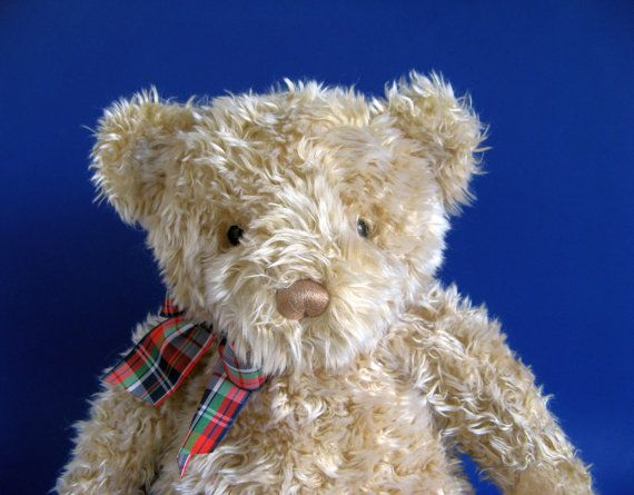 16ac8c240e Vintage Gund Teddy Bear Stuffed Animal 1990s Toys Kids Toy Curly Fur Light  Brown Classic Teddy Bear Plaid Ribbon