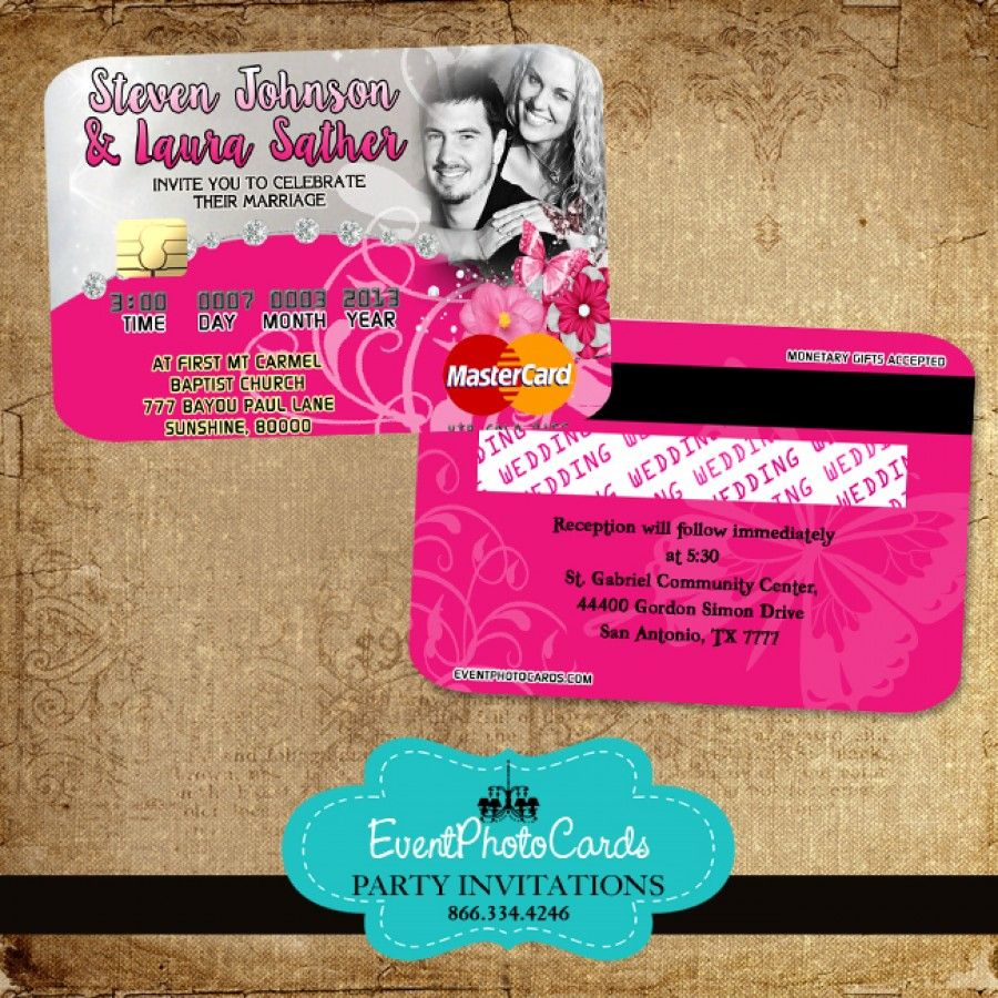Pink Butterfly Wedding Invitations - Credit Card   Butterfly ...