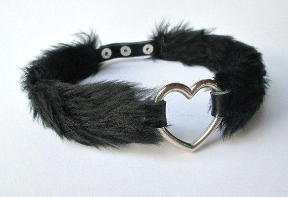 Black Fur Heart Choker Nu Goth Collar Sexy Furry by Kerenika