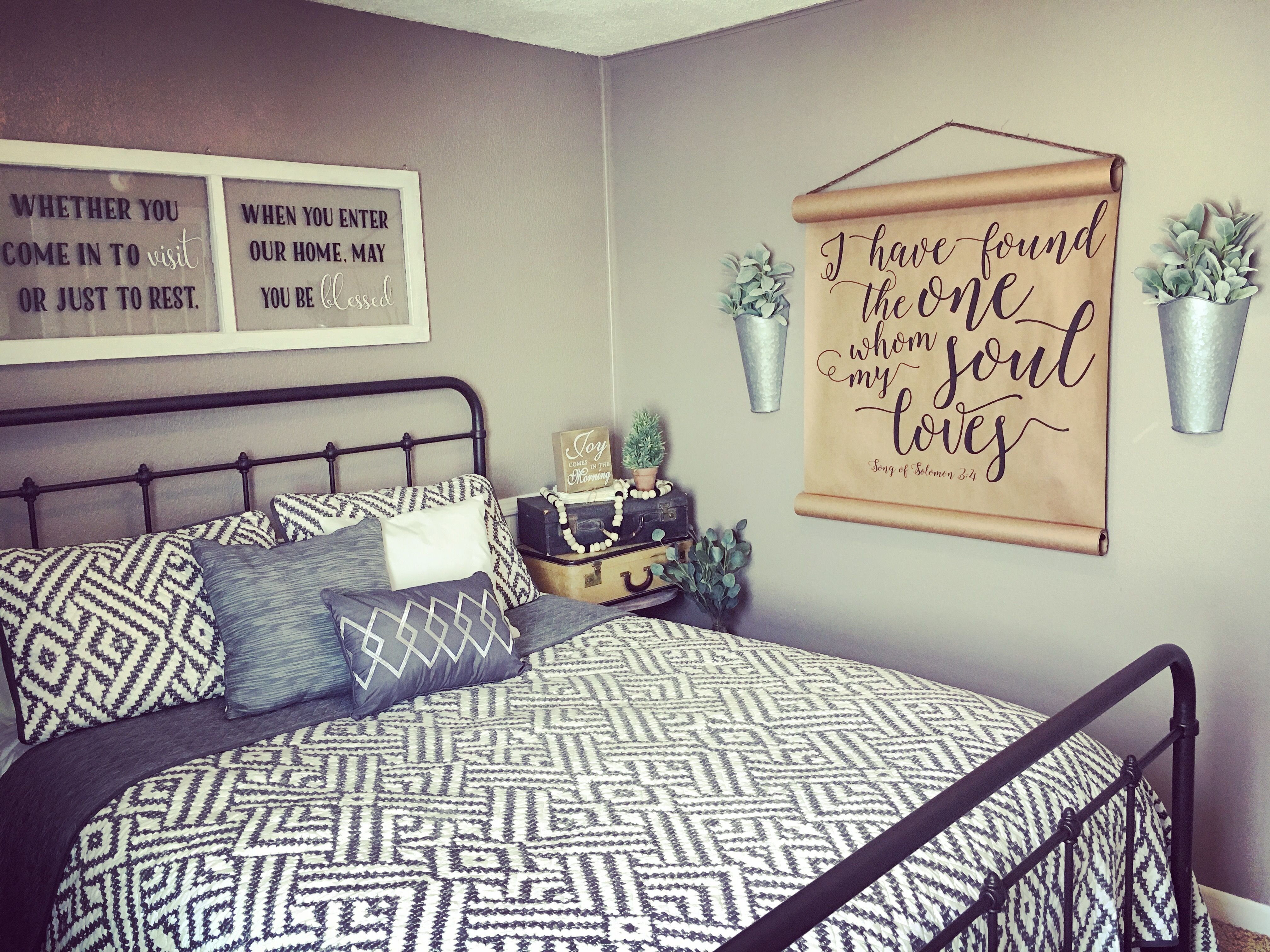 Guest bedroom decor by Refunked Junque