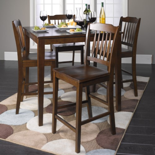 Roundhill Furniture Cappuccino 5 Piece Counter Height Dining Table Set Beige Counter Height Dining Table Set Counter Height Dining Sets Tall Dining Table