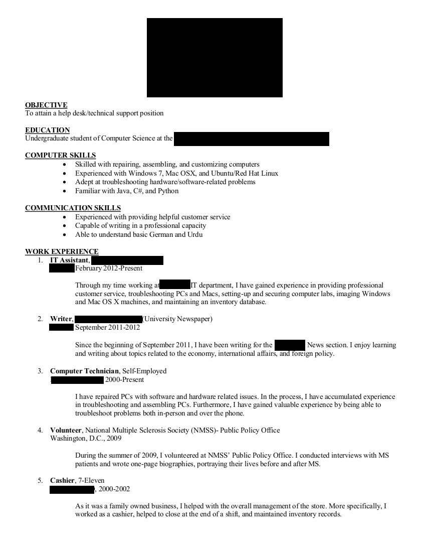 Computer Science Undergraduate Resume Graceful Puter