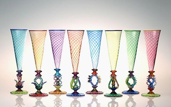 Tutti Frutti Champagne Flutes by Robert Dane (Art Glass Drinkware)   Artful Home