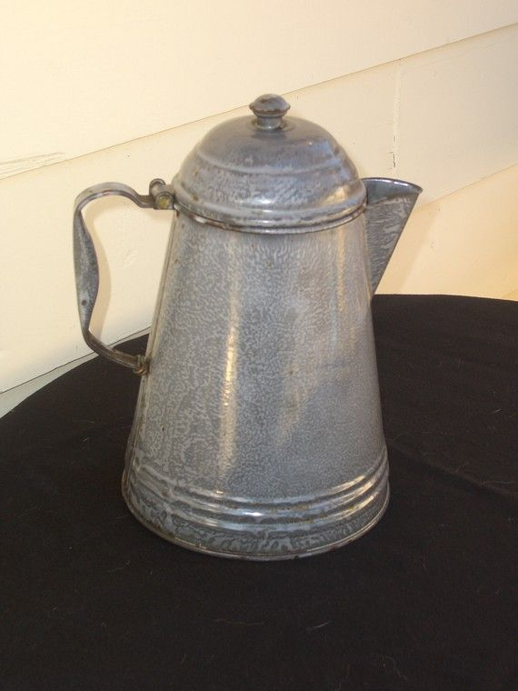 Graniteware Coffee Pot Antique Vintage By Fishbones1 On Etsy 22 00