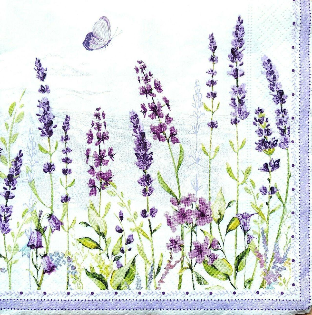 4 Single Lunch Paper Napkins Vintage - Flowers Lavender Summer 1