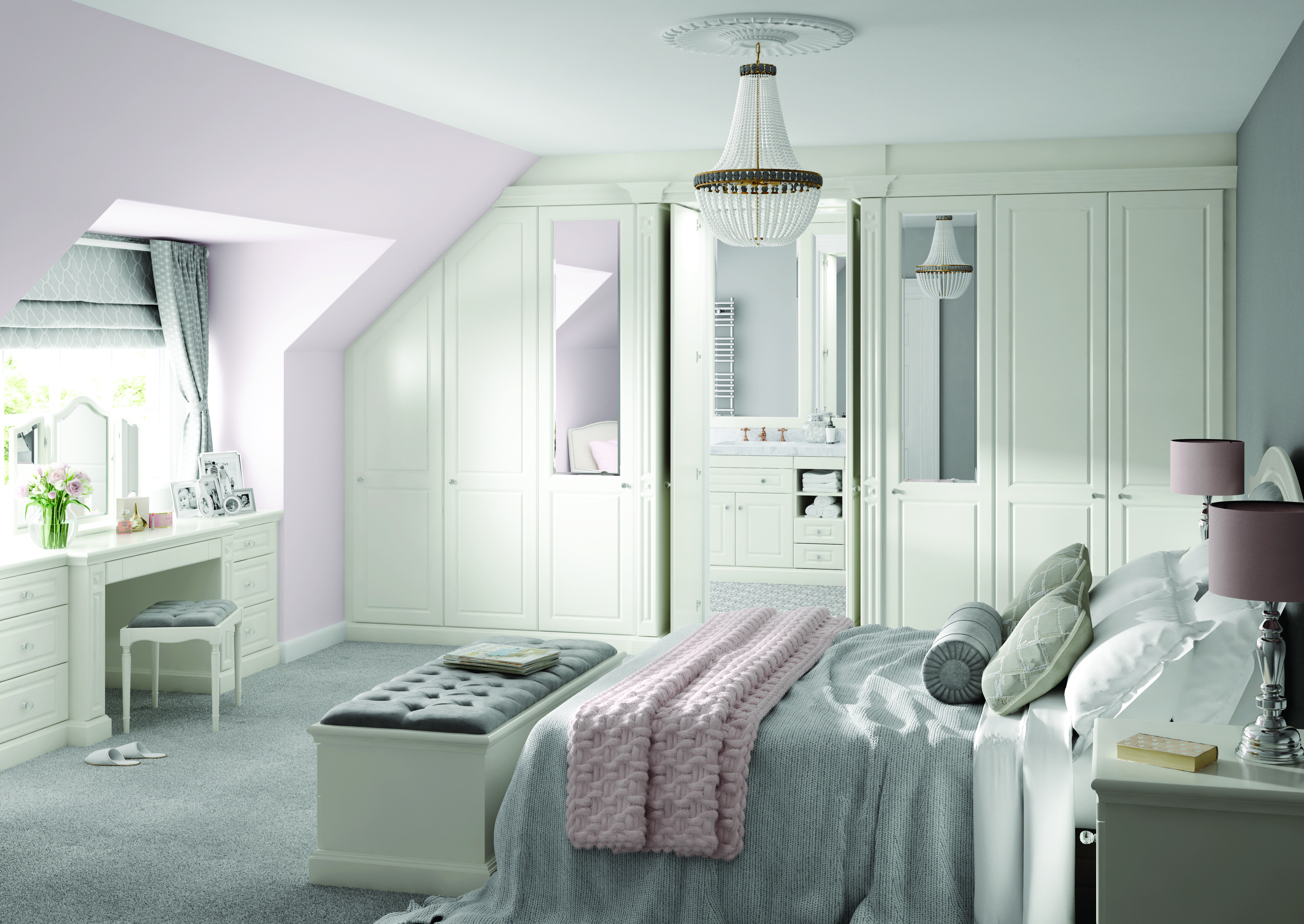 Traditional Dove White Bedroom New england bedroom