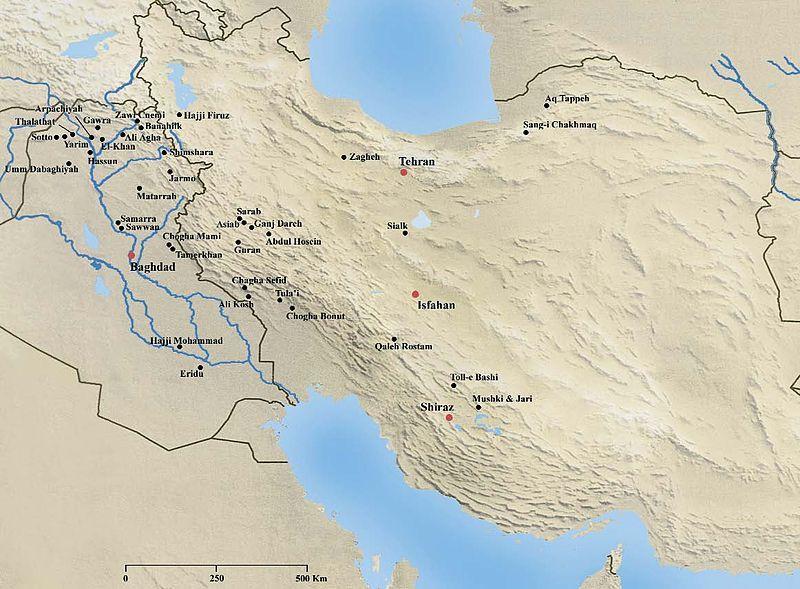 mapa neoltico en mesopotamia y montes zagros
