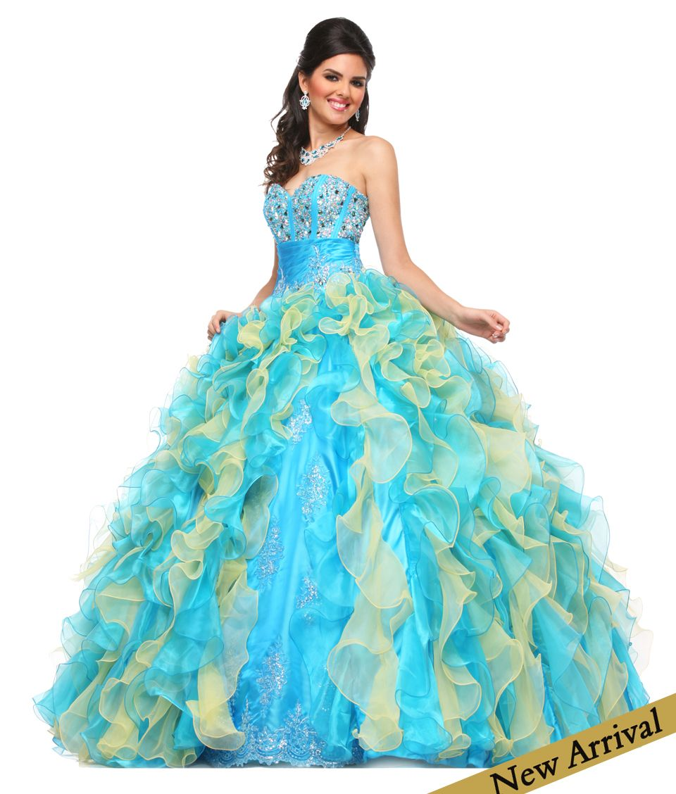 2014 New Cheap Colorful Pink and Blue Puffy Quince dress with ...