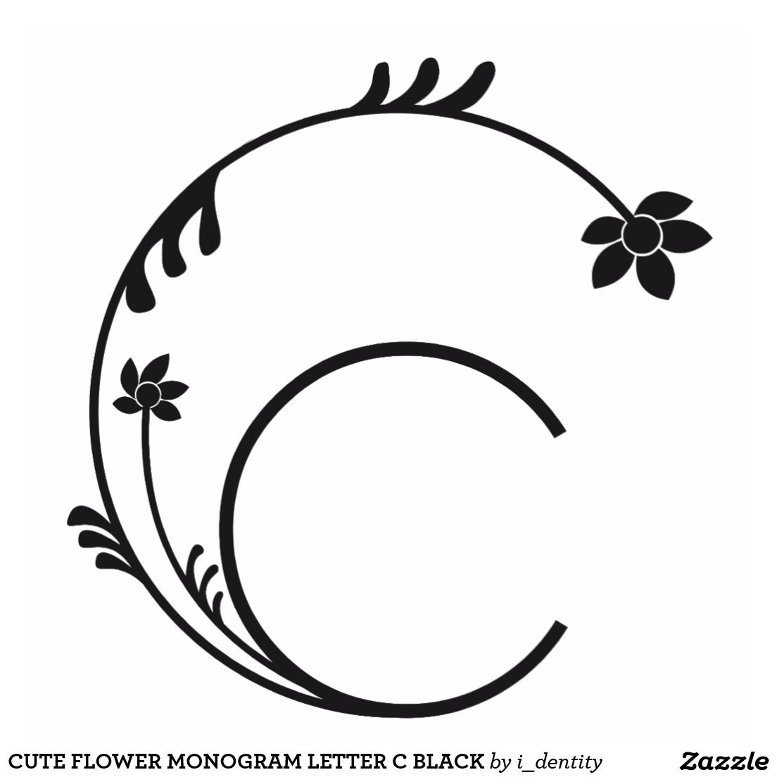 Photo Sculpture Noir Mignon De La Lettre C De Monogramme De Fleur