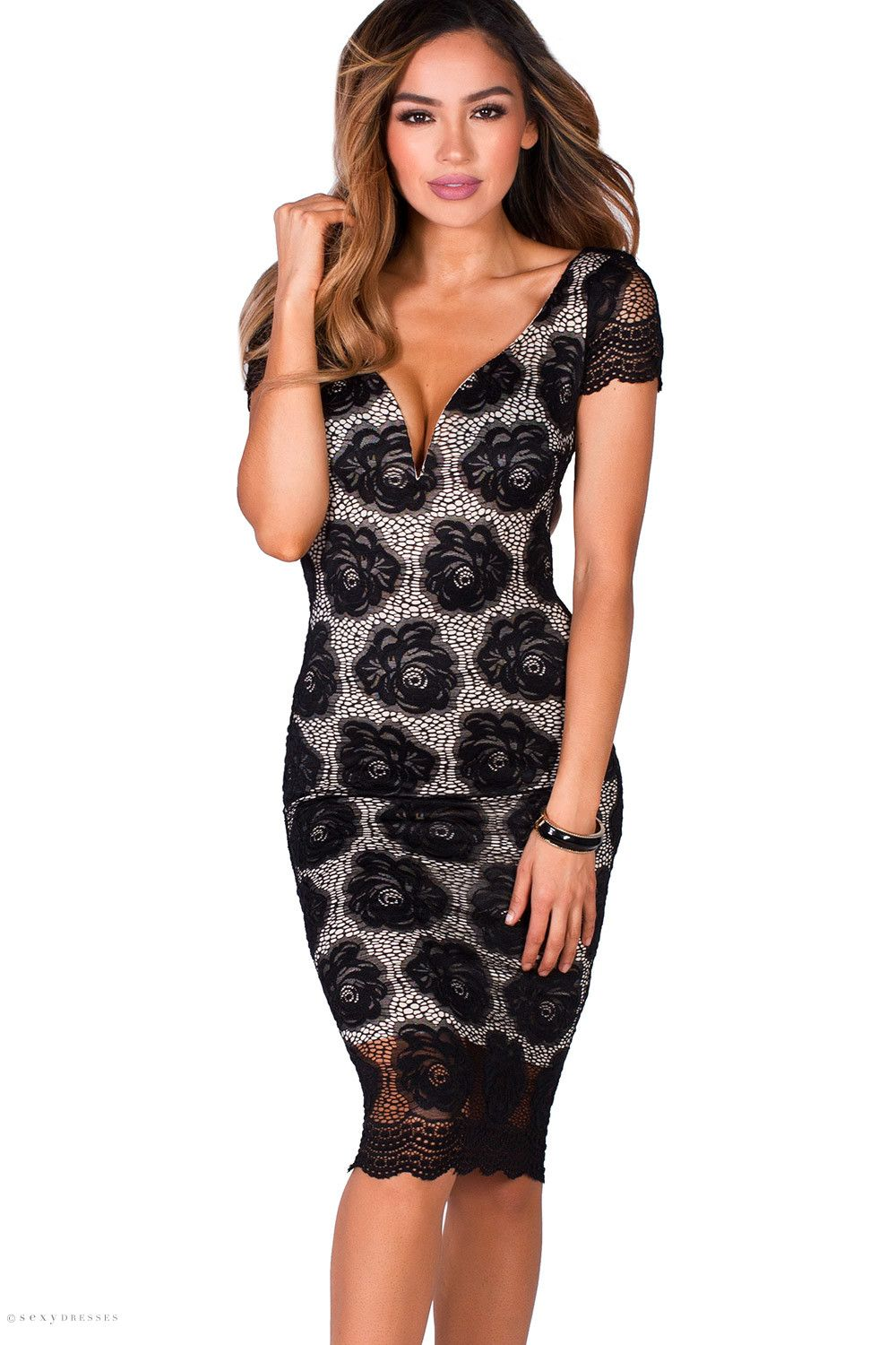 96a87ad35d Midi Length Bodycon Short Sleeve Lace Black & Nude Cocktail Party Dress