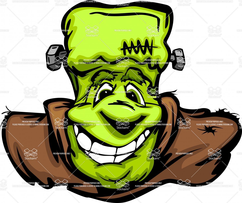 Happy frankenstein halloween monster head cartoon vector