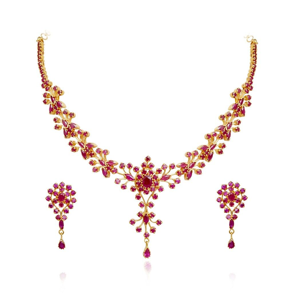 Ruby | 22 KT Gold Ruby Necklace with Earrings Set | GRT ...