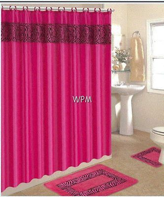 15 Pc Bath Rug Set Animal Pink Zebra Print Bathroom Shower Curtain Mat Rings