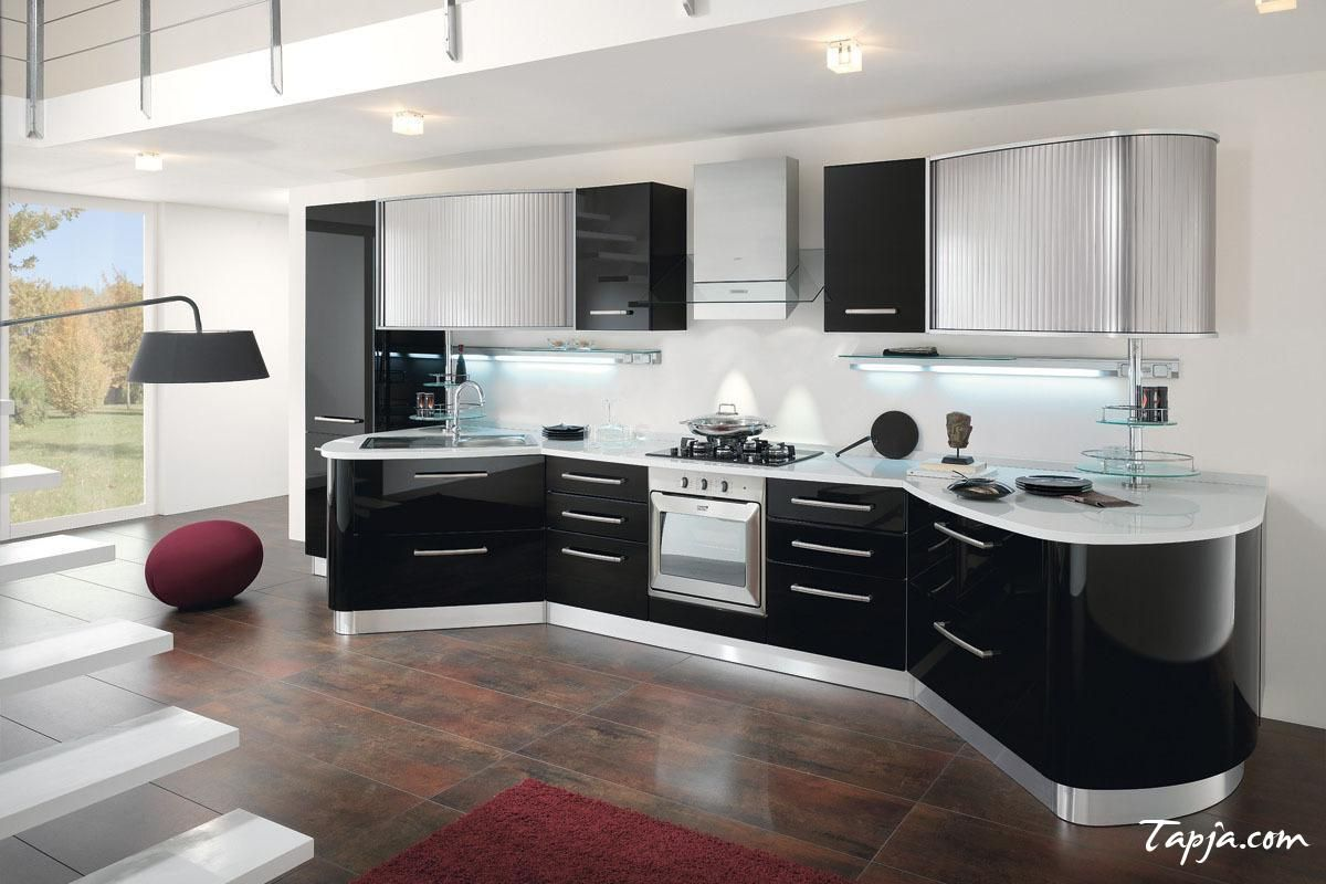 Stunning Italian Modern Kitchen Design With Black Gloss Backsplash As Well  Lighting Under Cabinet And Ceiling Along With Dark Red Fur Rug On Brown  Floor Get ...