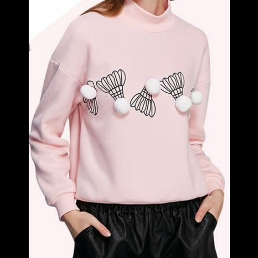 بلوفر بناتي شتوي بتصميم عصري مميز بلوفر صوف ناعم بأكمام طويلة واسعة بلوفر سادة مميز برسمة ريشة البيسيبول بارزة ف Long Sleeve Blouse Pullover Tops