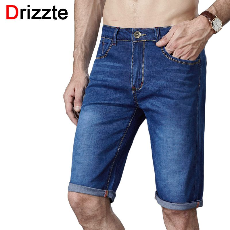 9e409d816ee Drizzte Brand Mens Jeans Shorts Plus Size Stretch Thin Denim Jeans Short  for Men Pants Summer Size 33 35 36 38 40 42 44 46 Jean