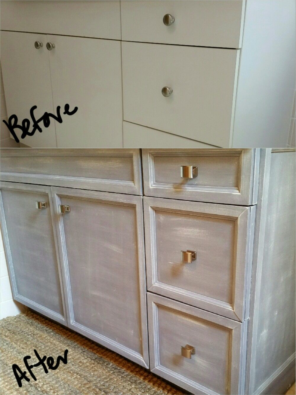 Vanity Cabinet Makeover For Cheap Give Flat Laminate A Face
