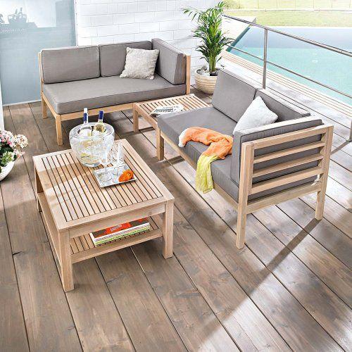 Gartenmöbel Set Variabel Platzierbar 2 Sitzelemente 1 Gartentisch 1  Hocker Sessel Akazien Holz