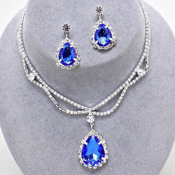 Chunky Blue Crystal SIlver Chain Necklace Earring Set Fashion Costume Jewelry #Unbranded