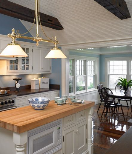 Blue Kitchen Ceiling: Vaulted Ceiling Into Lower Ceiling
