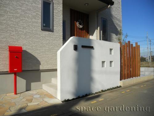 施工例画像 門扉なし外構 シンプル 上尾市 玄関 エクステリア 外構