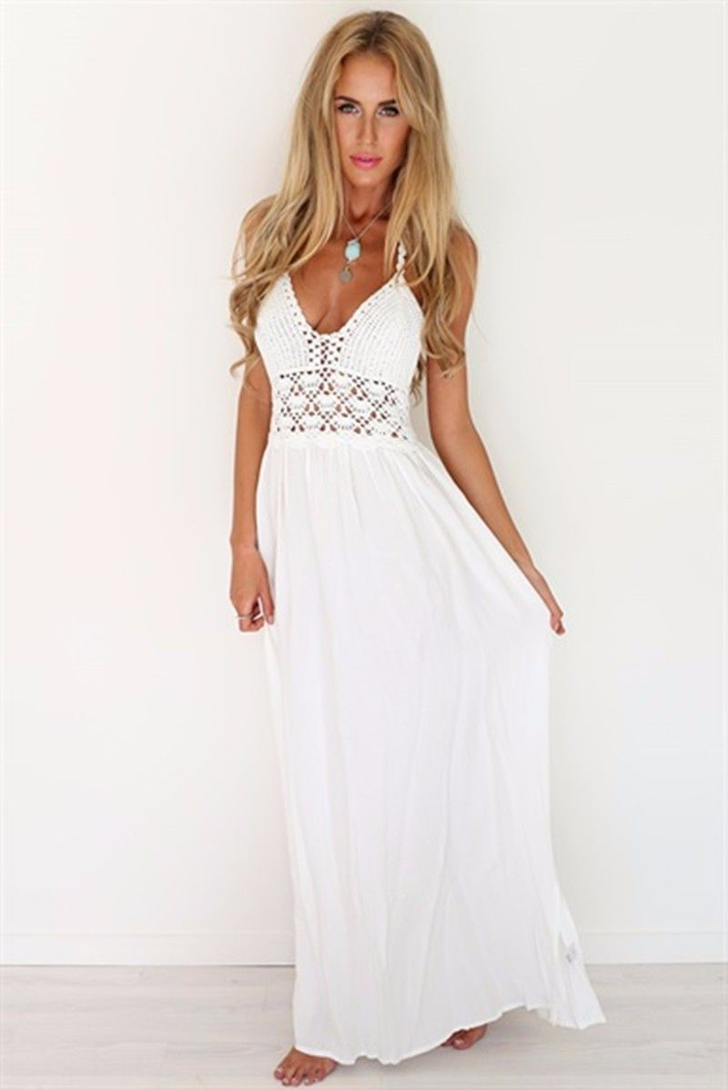 6ccfd2355a84 ... Women s Beach Crochet Backless Bohemian Halter Maxi Long Dress.  popular-long-white-summer-dresses
