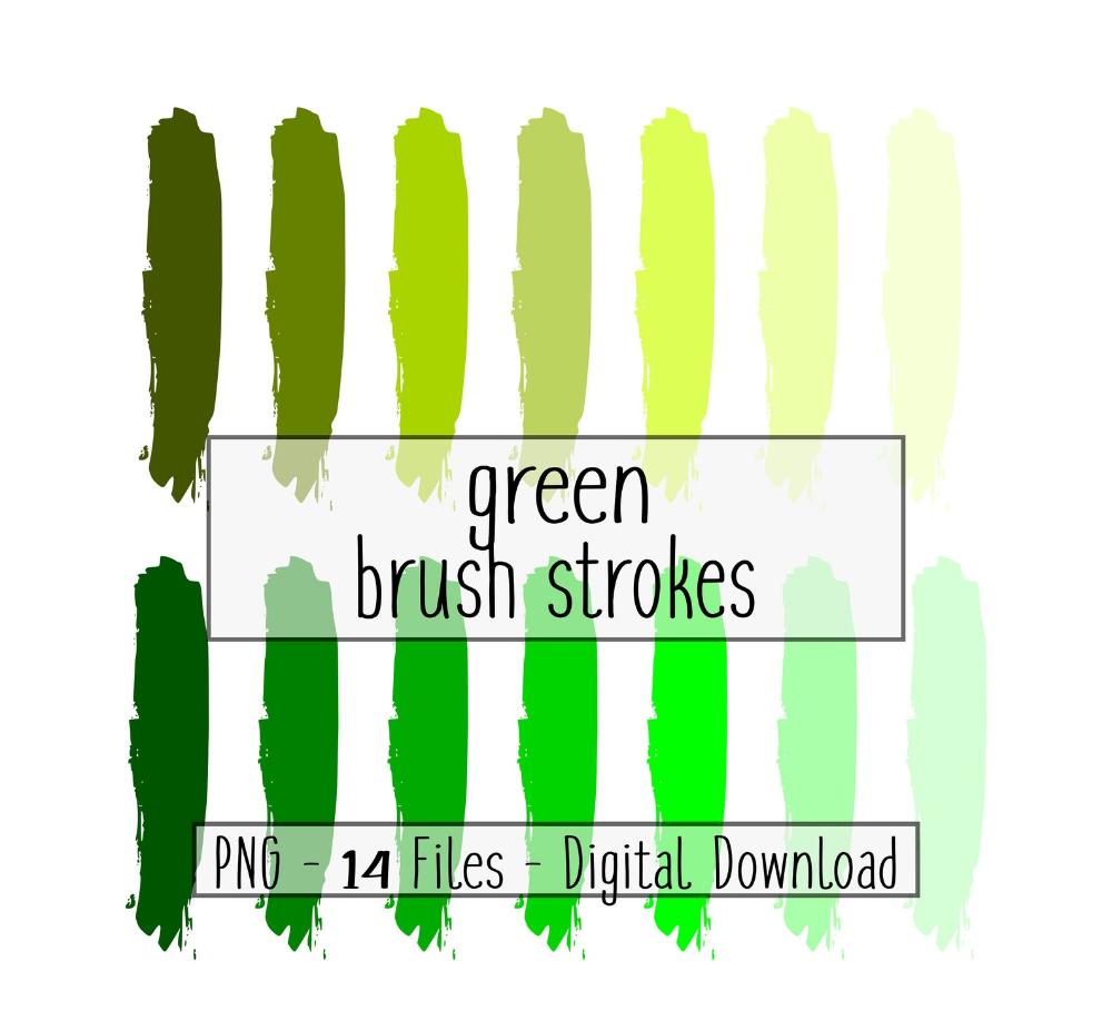 Green Brush Strokes Green Bundle Of Paint Strokes Diy Etsy St Patricks Day Clipart Clip Art Logo Background