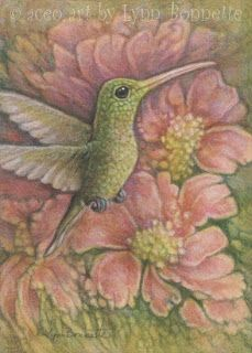 "Hummingbird Floral Original ACEO painting  2½""X3½"" – (official aceo size)  Watercolor, colored pencil & acrylic Arches 140lb hot press watercolor paper Date of work: June 2013 Sold - thank you  Here is a little hummingbird garden delight fantasy in pink & green."