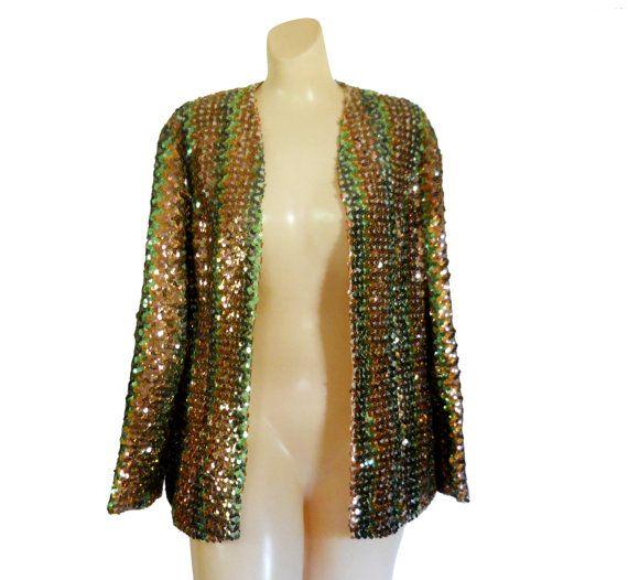 Brand New 1970s Women/'s Gold Disco Sequin Blazer