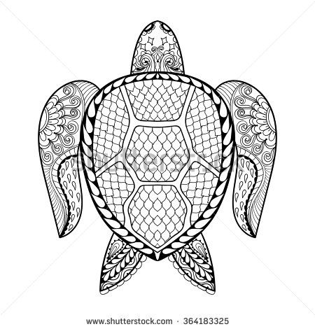 Hand drawn sea Turtle mascot for adult coloring pages in doodle