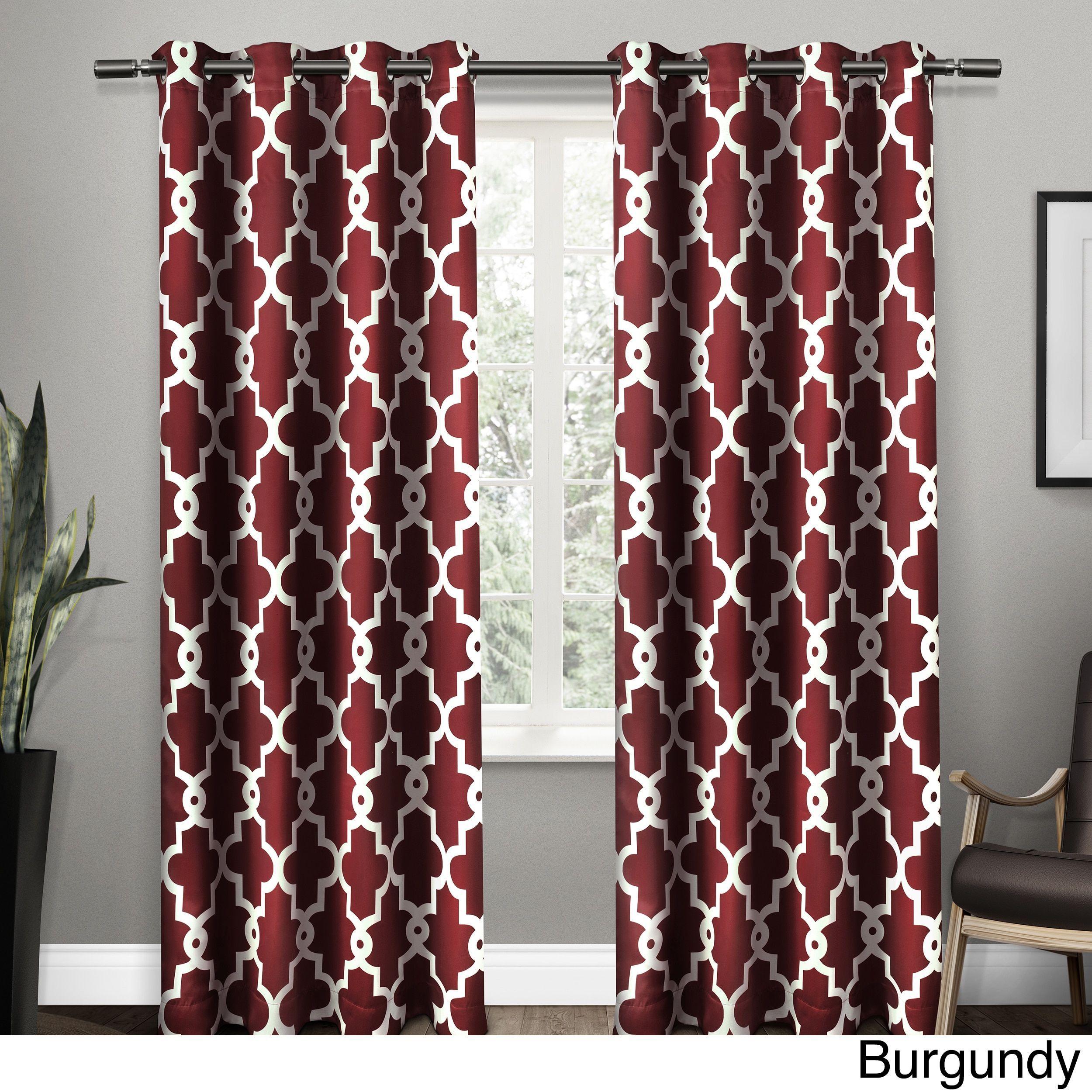Ati Home Ironwork Grommet Top Window Curtain Panel Pair (Burgundy