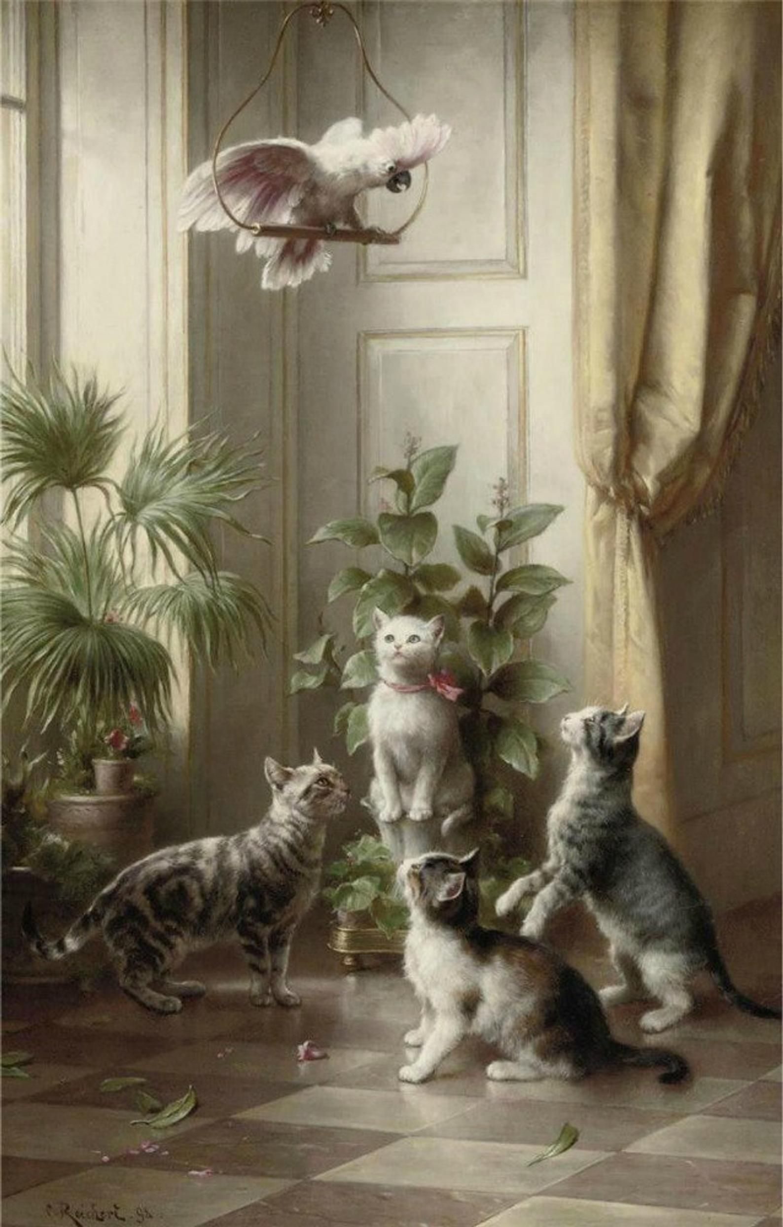Cats and the Cockatoo - Cross stitch pattern pdf format