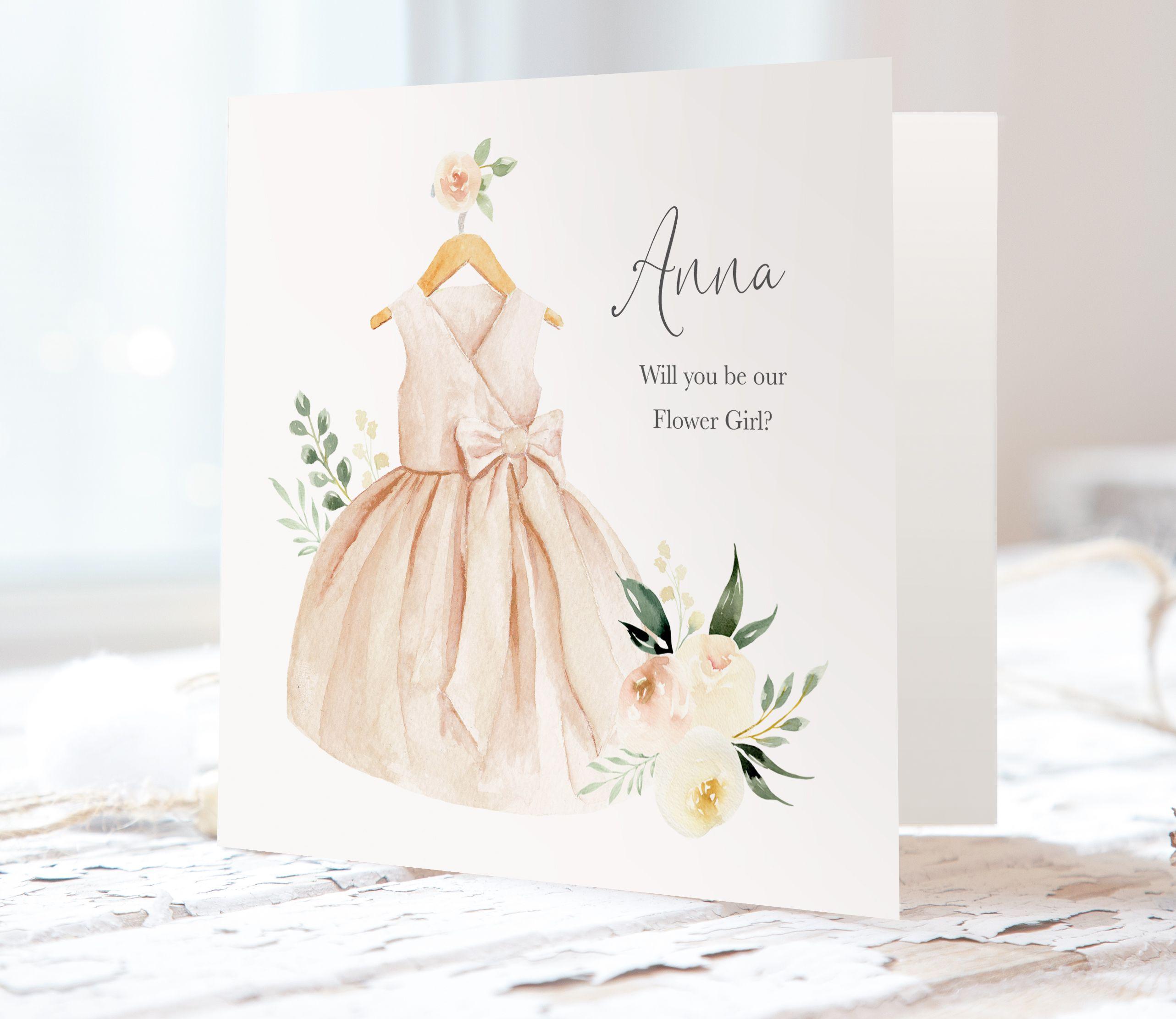 Adorable blush floral flower girl proposal cards flower
