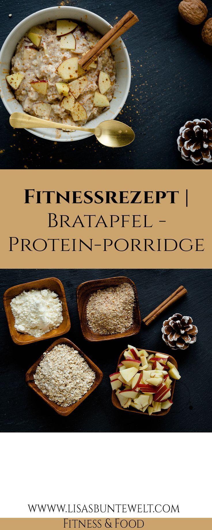 Fitness Rezept | Bratapfel-Protein-Porridge - LisasBunteWelt,  #BratapfelProteinPorridge #fitness #F...