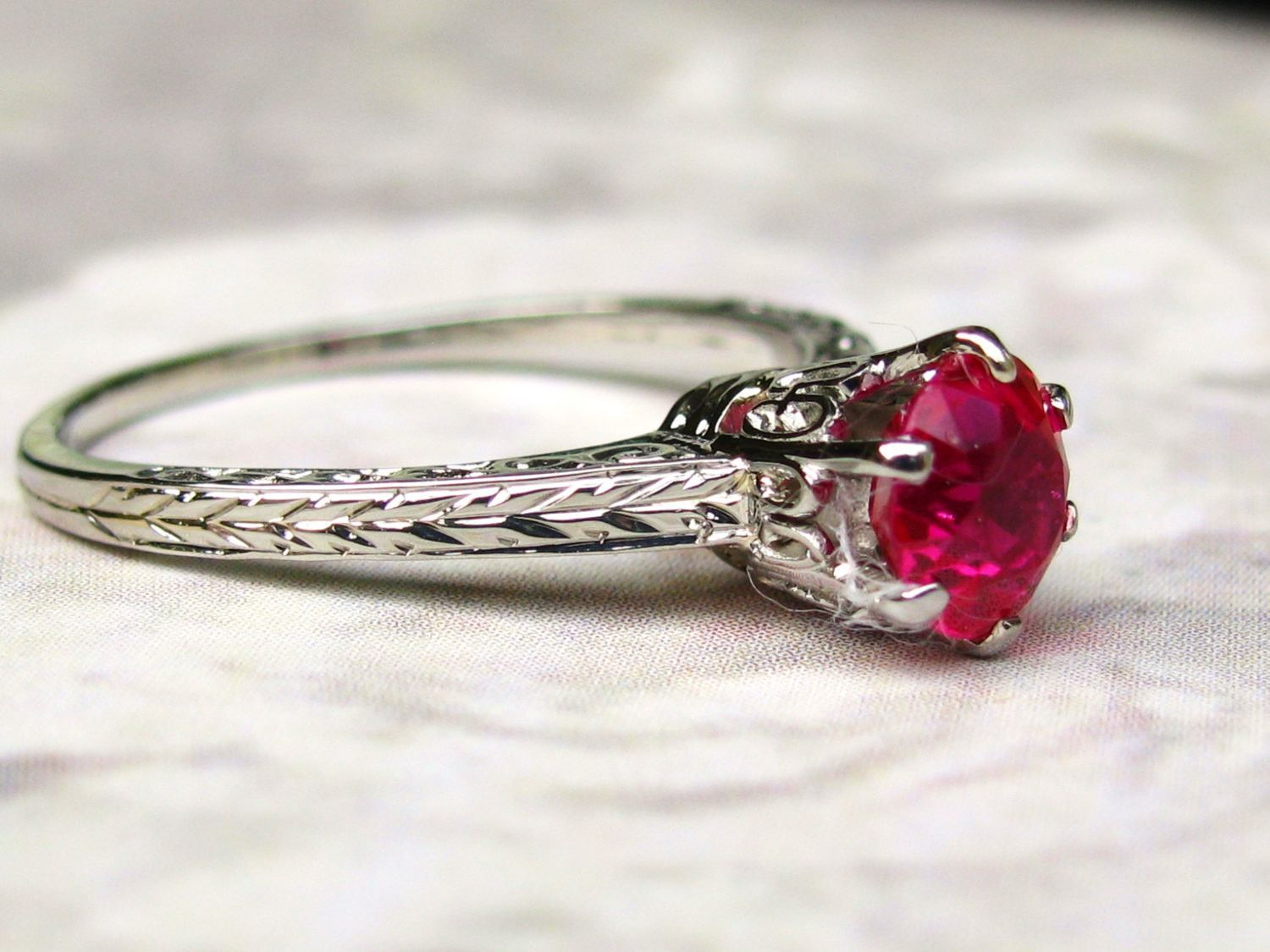 Antique style crown setting ct synthetic ruby engagement ring