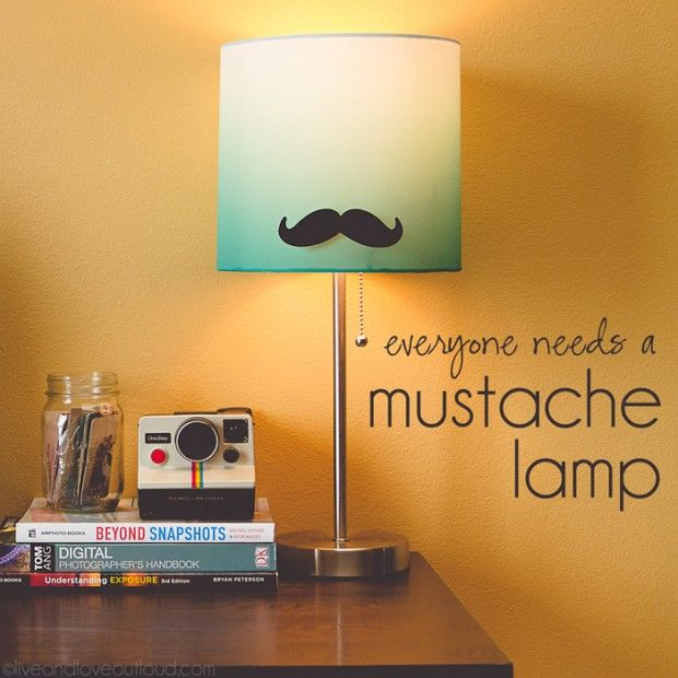 Make A Mustache Lamp . Easy DIY Home Decoration Ideas.